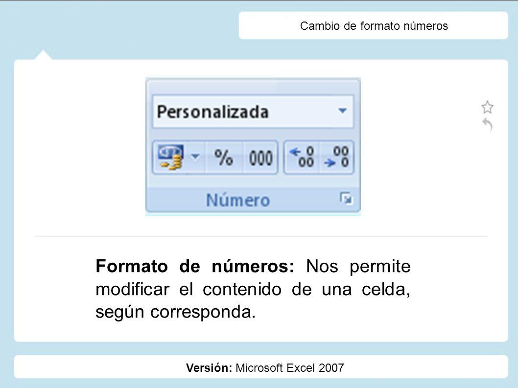 Cambio de formato números