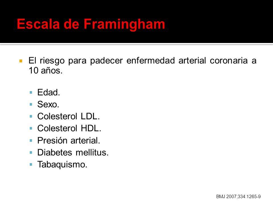 Escala de Framingham El riesgo para padecer enfermedad arterial coronaria a 10 años. Edad. Sexo. Colesterol LDL.