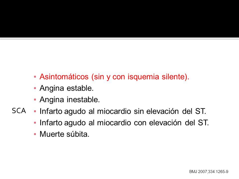 Asintomáticos (sin y con isquemia silente). Angina estable.