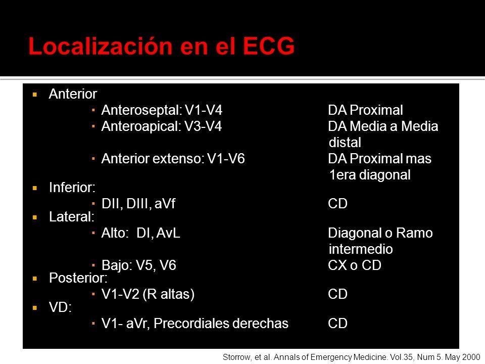 Localización en el ECG Anterior Anteroseptal: V1-V4 DA Proximal