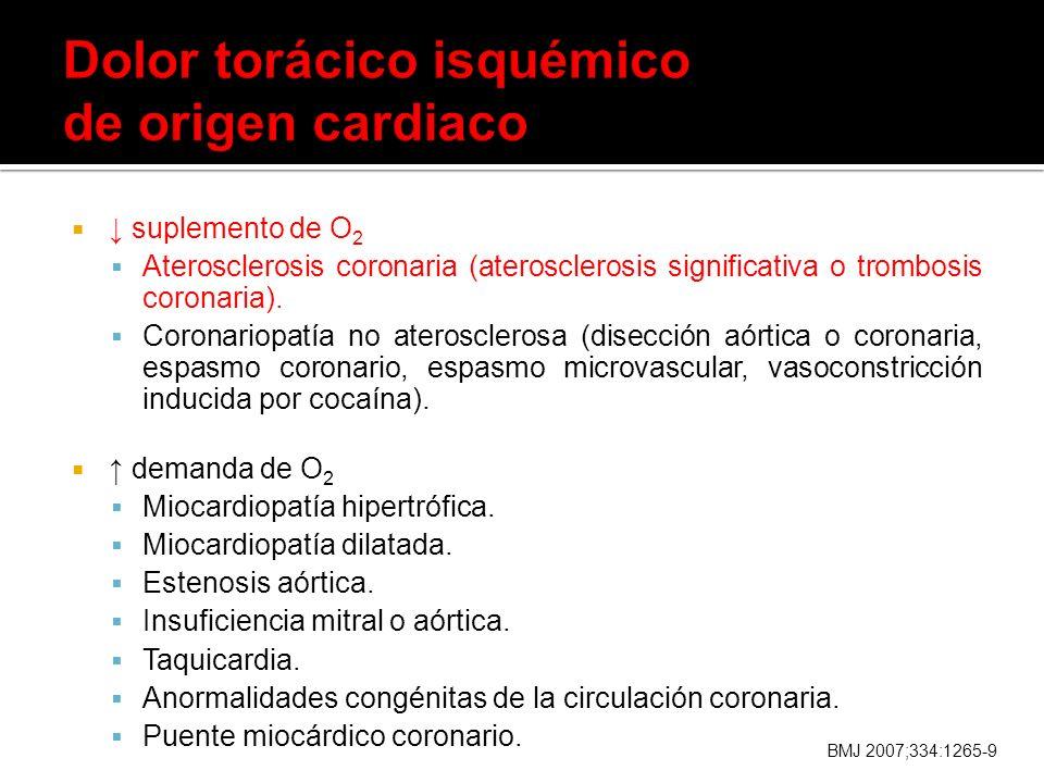 Dolor torácico isquémico de origen cardiaco