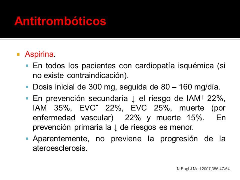 Antitrombóticos Aspirina.