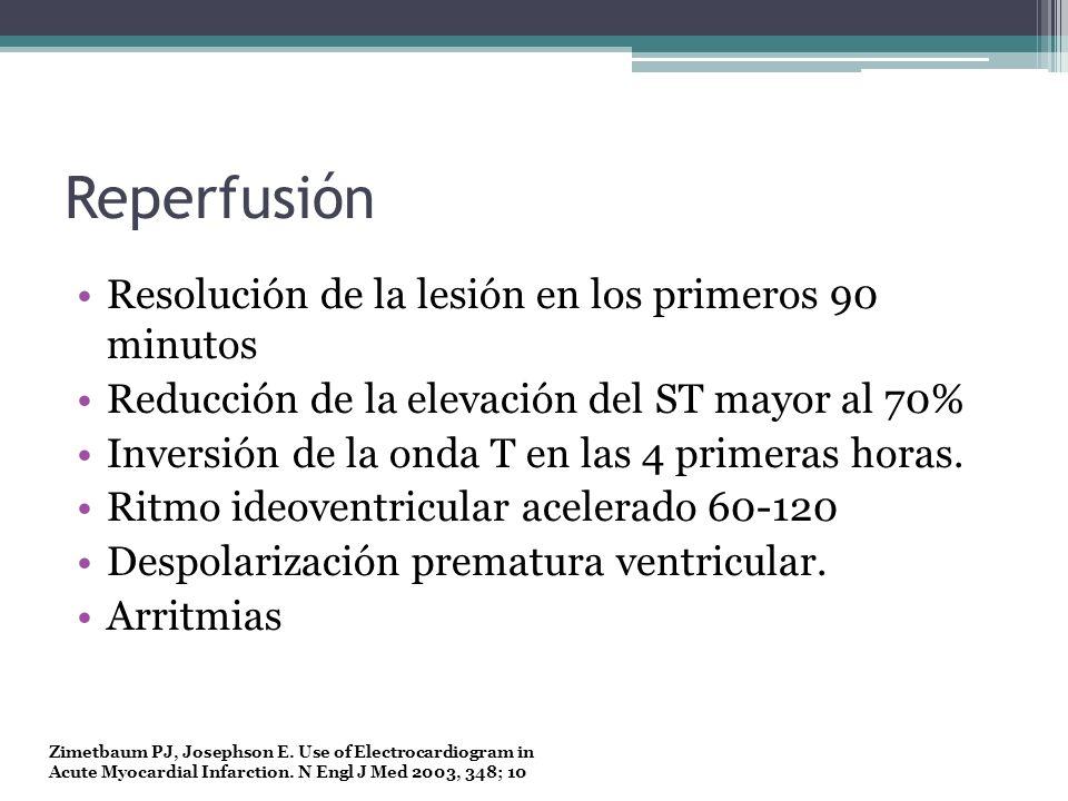 Reperfusión Resolución de la lesión en los primeros 90 minutos