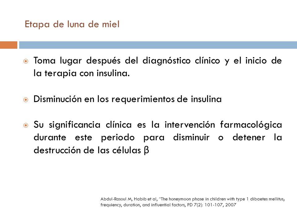 Disminución en los requerimientos de insulina