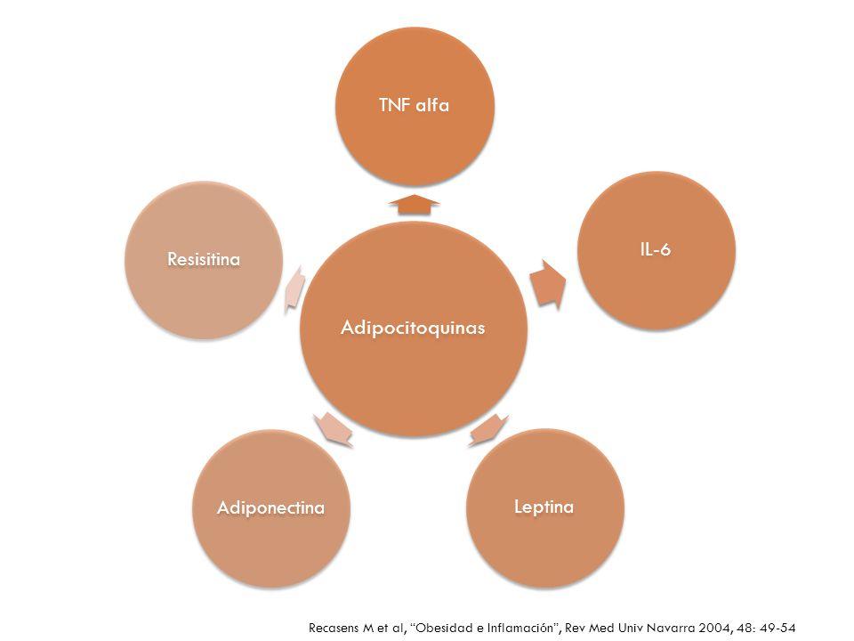 Adipocitoquinas TNF alfa. IL-6. Leptina. Adiponectina. Resisitina.