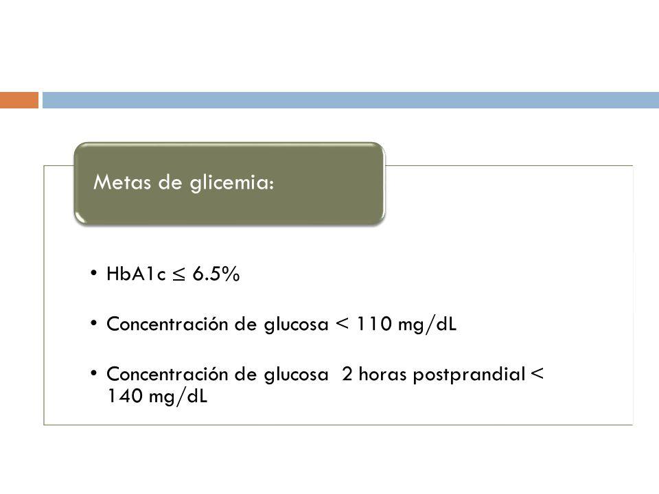 Metas de glicemia: HbA1c ≤ 6.5%