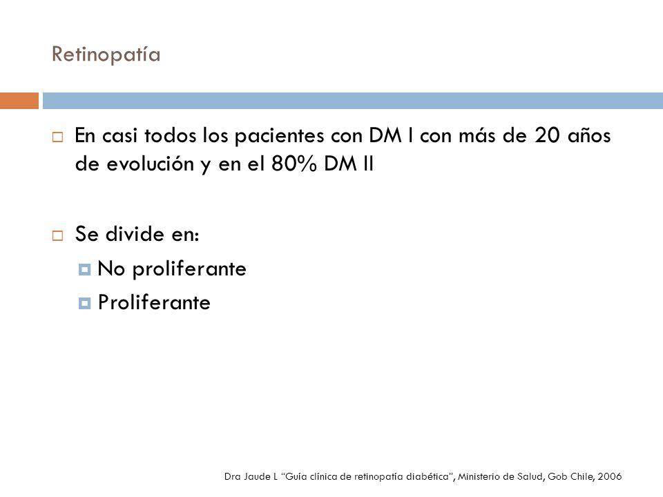 Retinopatía En casi todos los pacientes con DM I con más de 20 años de evolución y en el 80% DM II.