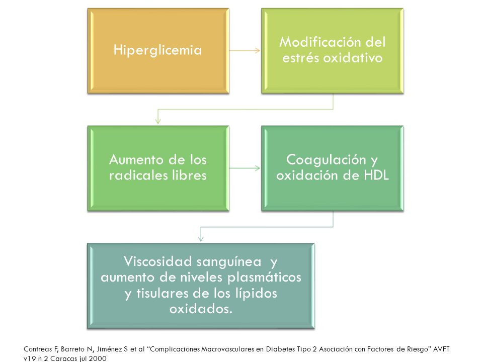 Hiperglicemia Modificación del estrés oxidativo. Aumento de los radicales libres. Coagulación y oxidación de HDL.