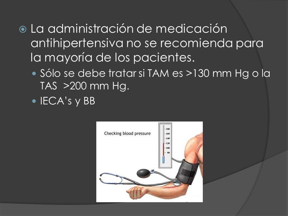 La administración de medicación antihipertensiva no se recomienda para la mayoría de los pacientes.