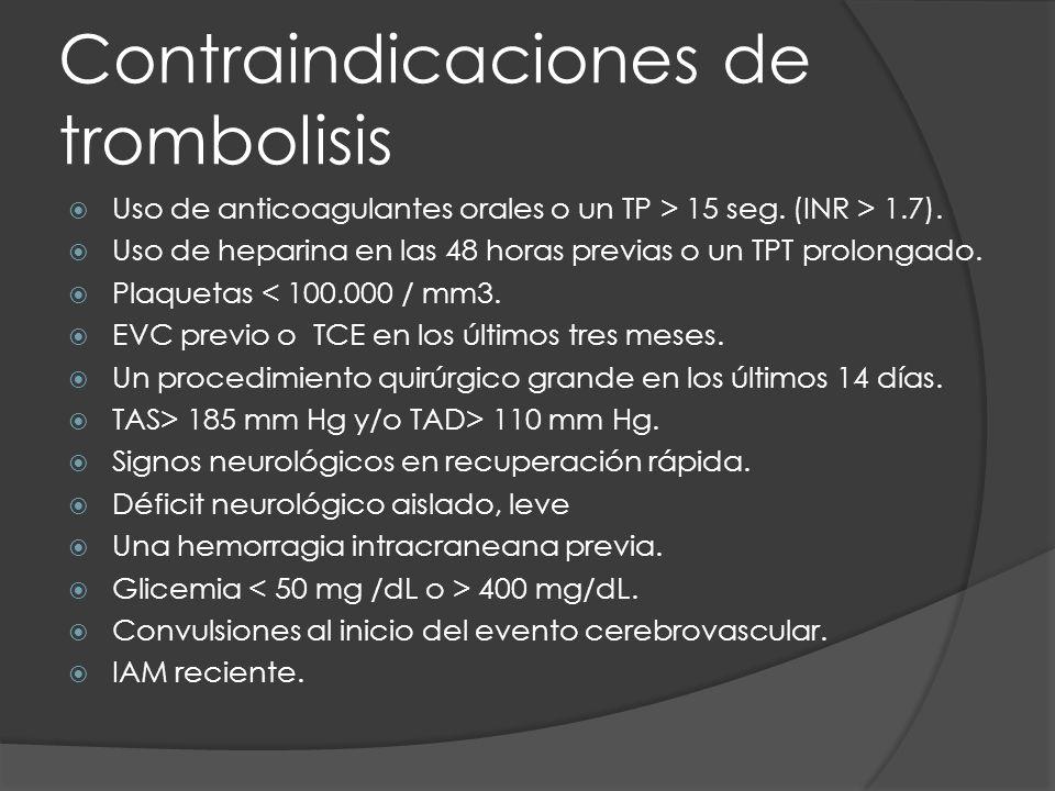 Contraindicaciones de trombolisis