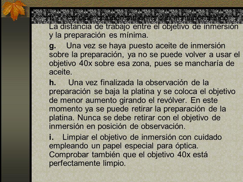 f. Enfocar cuidadosamente con el micrométrico