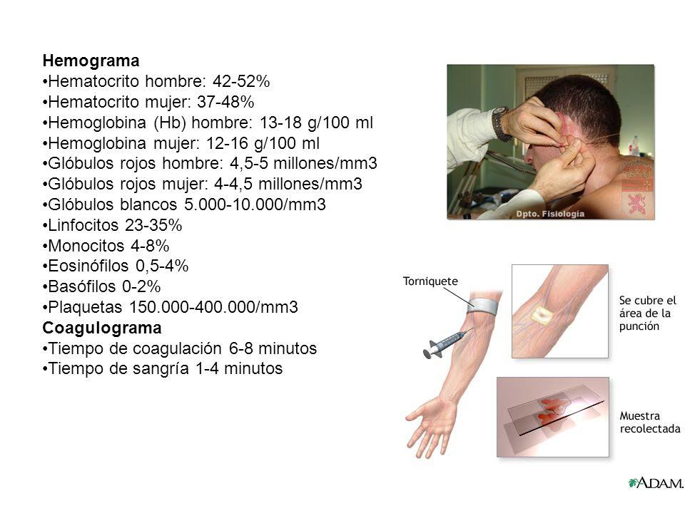 Hemograma Hematocrito hombre: 42-52% Hematocrito mujer: 37-48% Hemoglobina (Hb) hombre: 13-18 g/100 ml.
