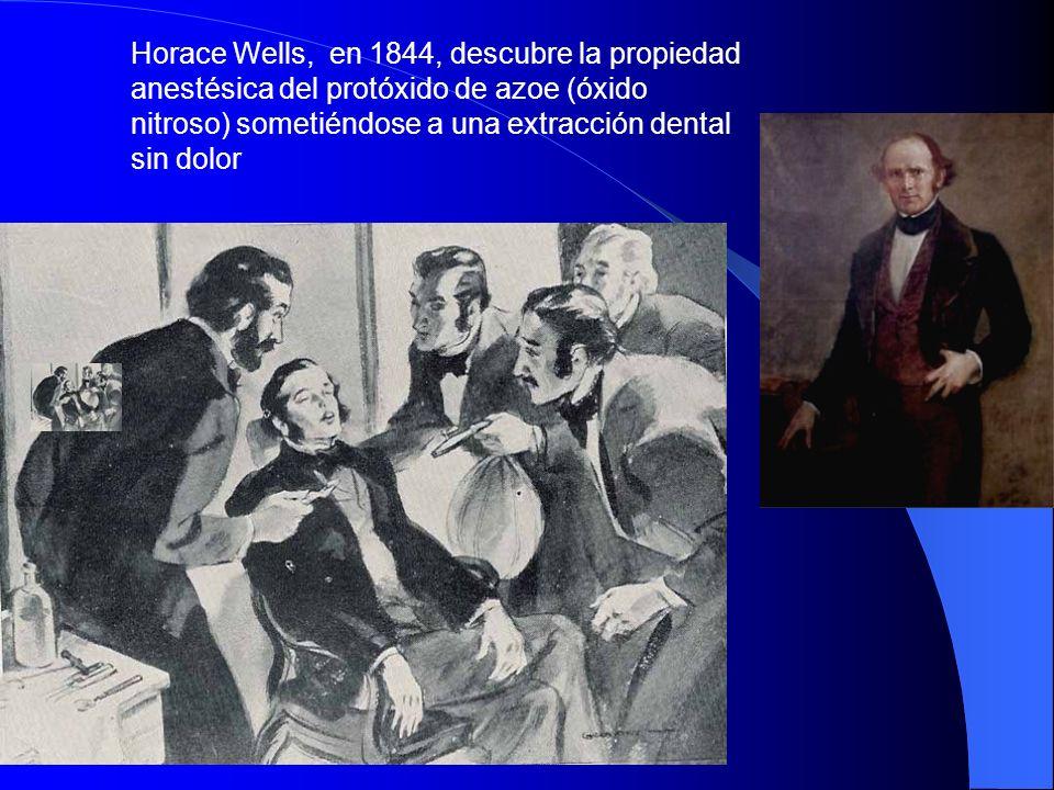 Horace Wells, en 1844, descubre la propiedad anestésica del protóxido de azoe (óxido nitroso) sometiéndose a una extracción dental sin dolor