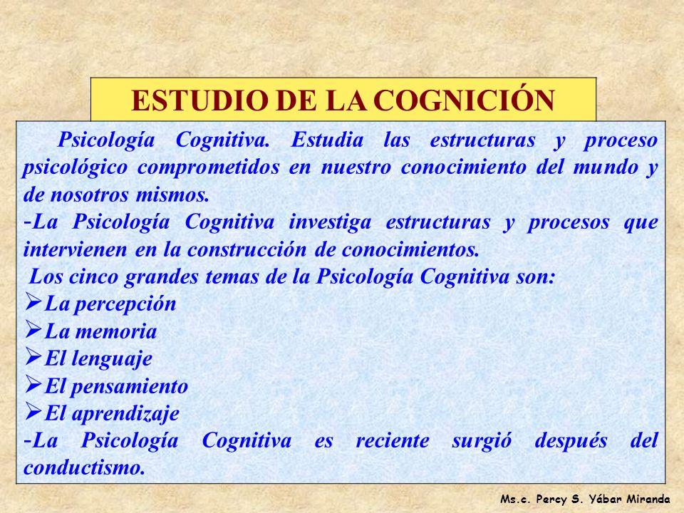 ESTUDIO DE LA COGNICIÓN Ms.c. Percy S. Yábar Miranda