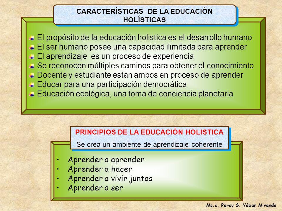 El propósito de la educación holistica es el desarrollo humano