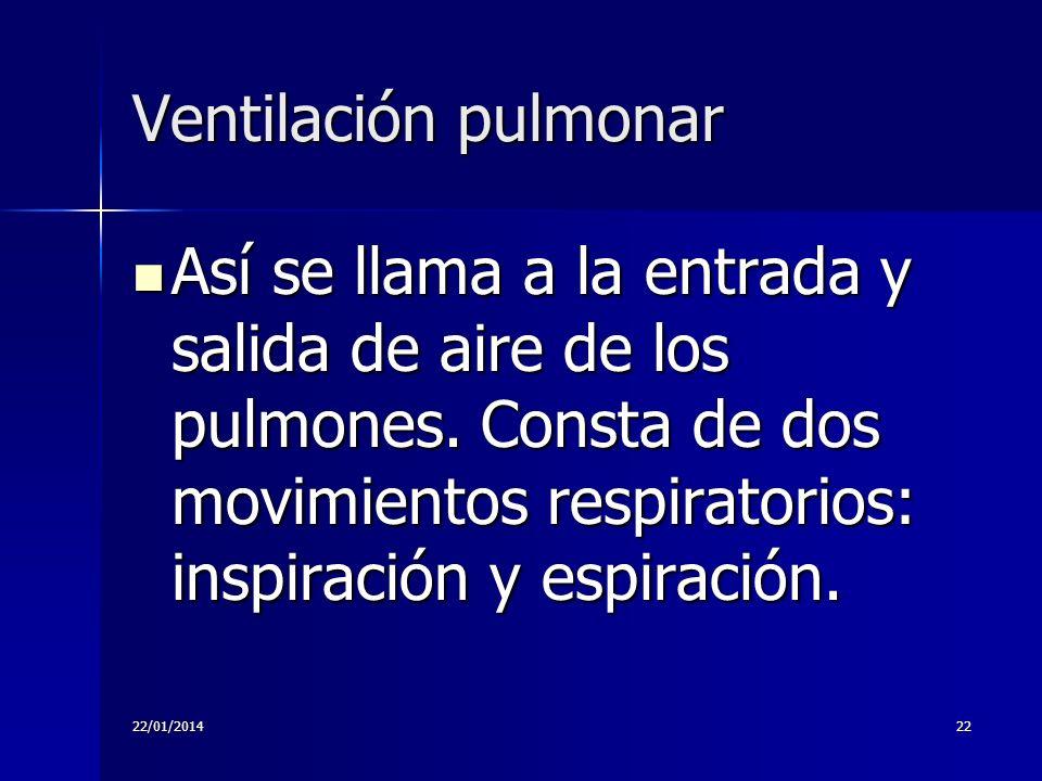 Ventilación pulmonar Así se llama a la entrada y salida de aire de los pulmones. Consta de dos movimientos respiratorios: inspiración y espiración.