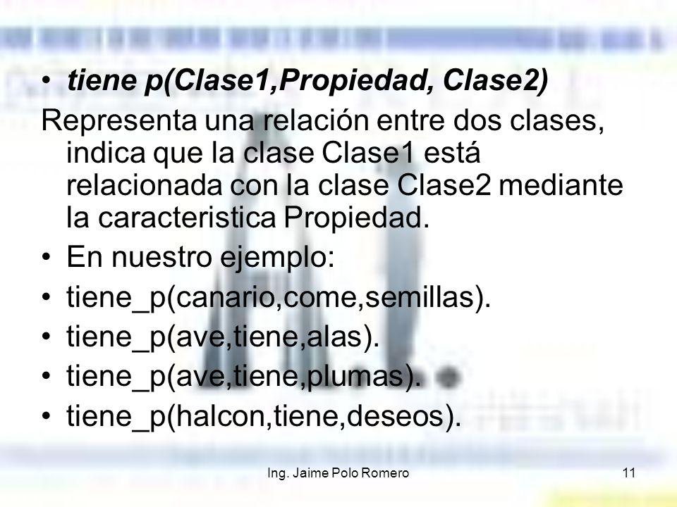 tiene p(Clase1,Propiedad, Clase2)