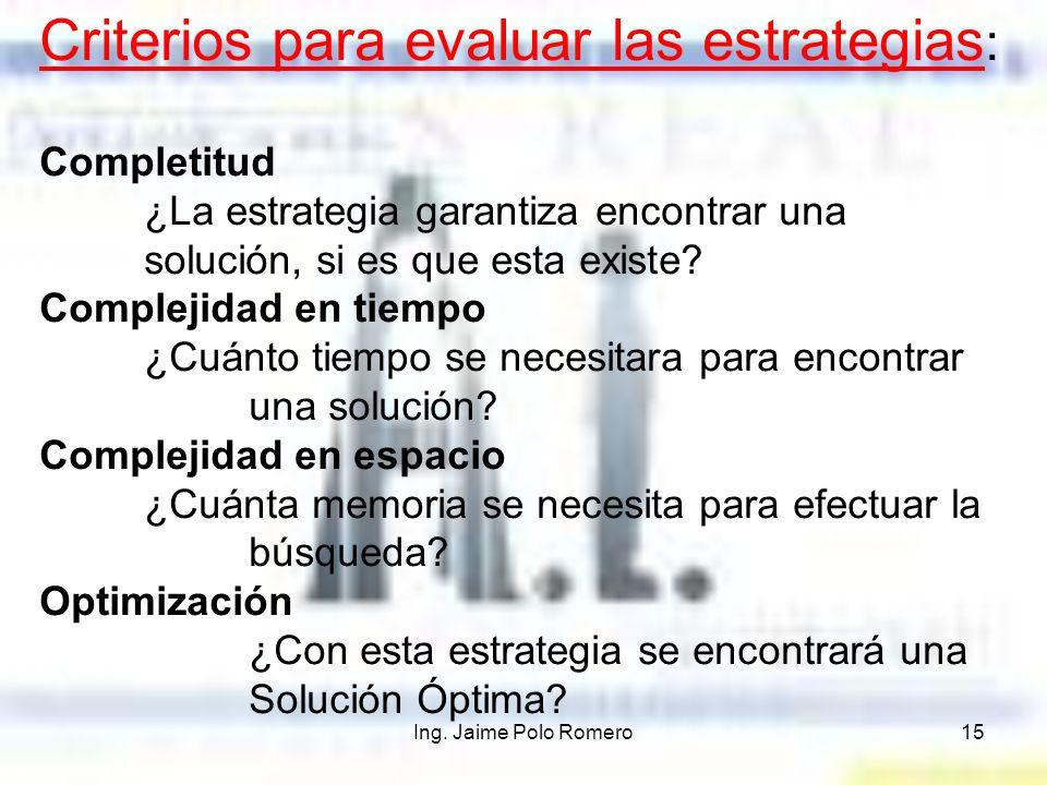 Criterios para evaluar las estrategias: Completitud