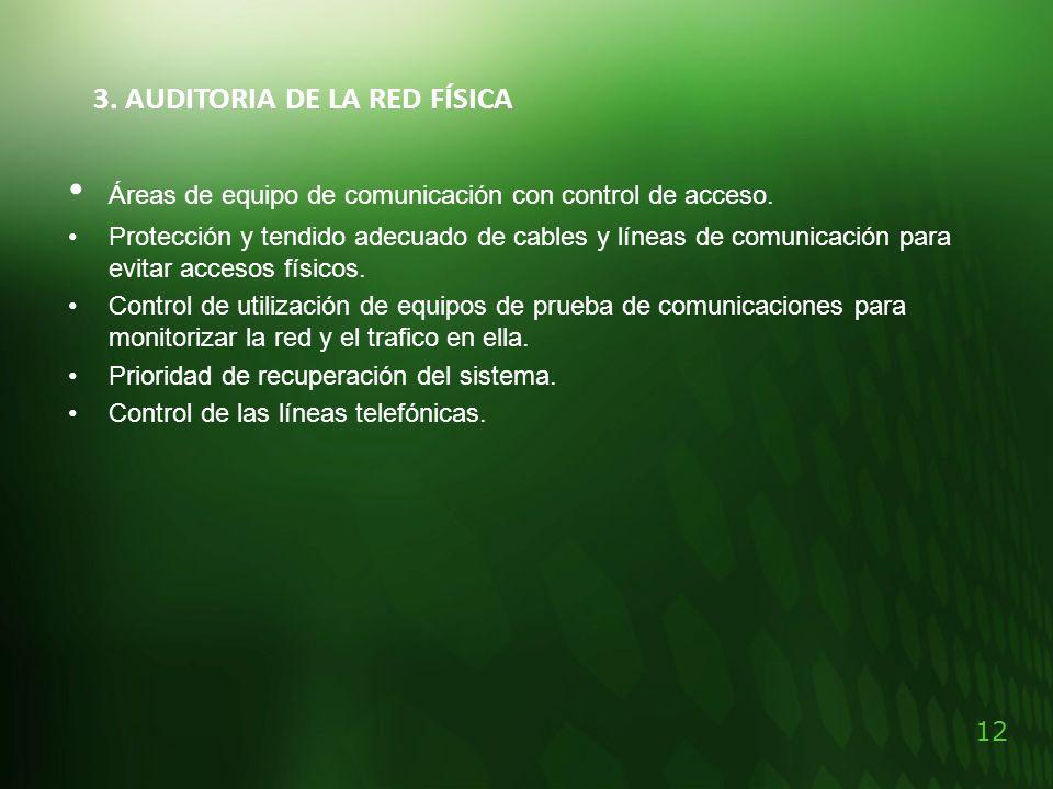 • Áreas de equipo de comunicación con control de acceso.
