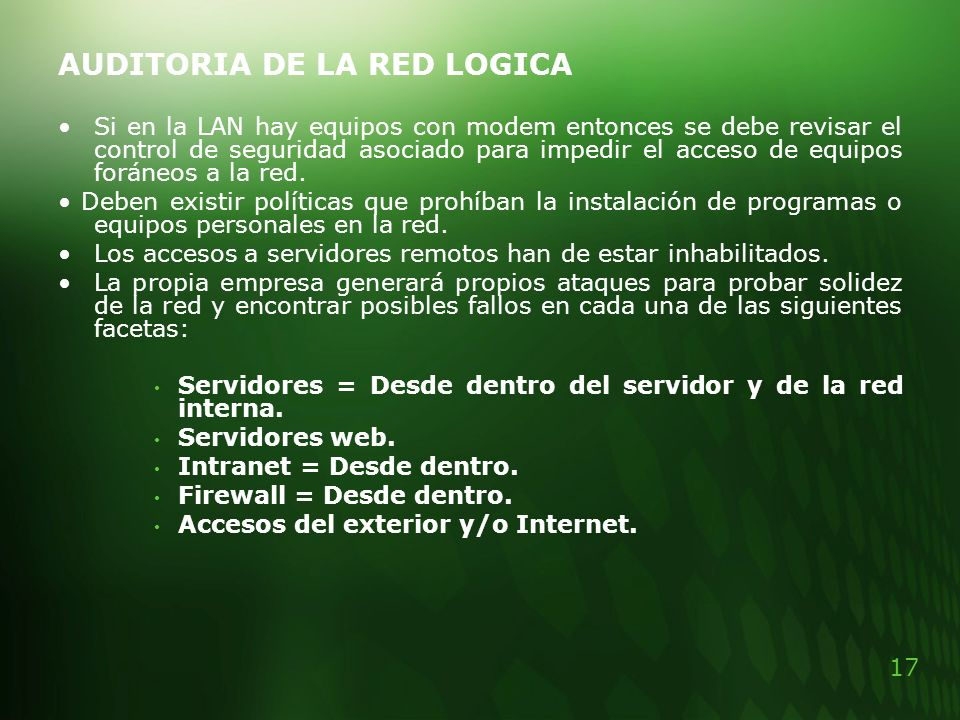 AUDITORIA DE LA RED LOGICA