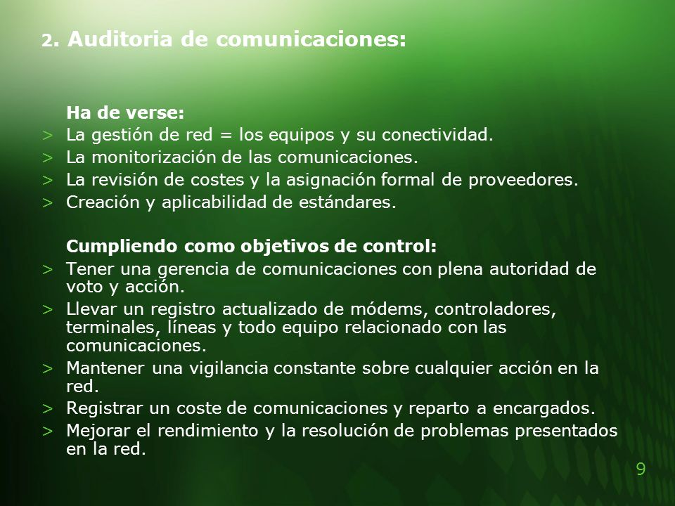 2. Auditoria de comunicaciones: