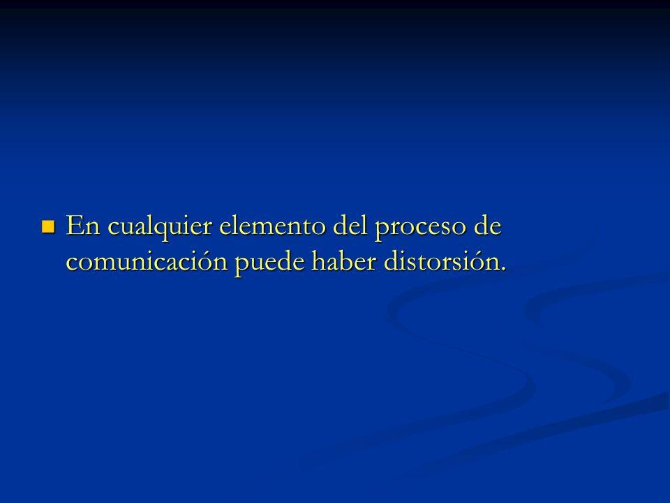 En cualquier elemento del proceso de comunicación puede haber distorsión.