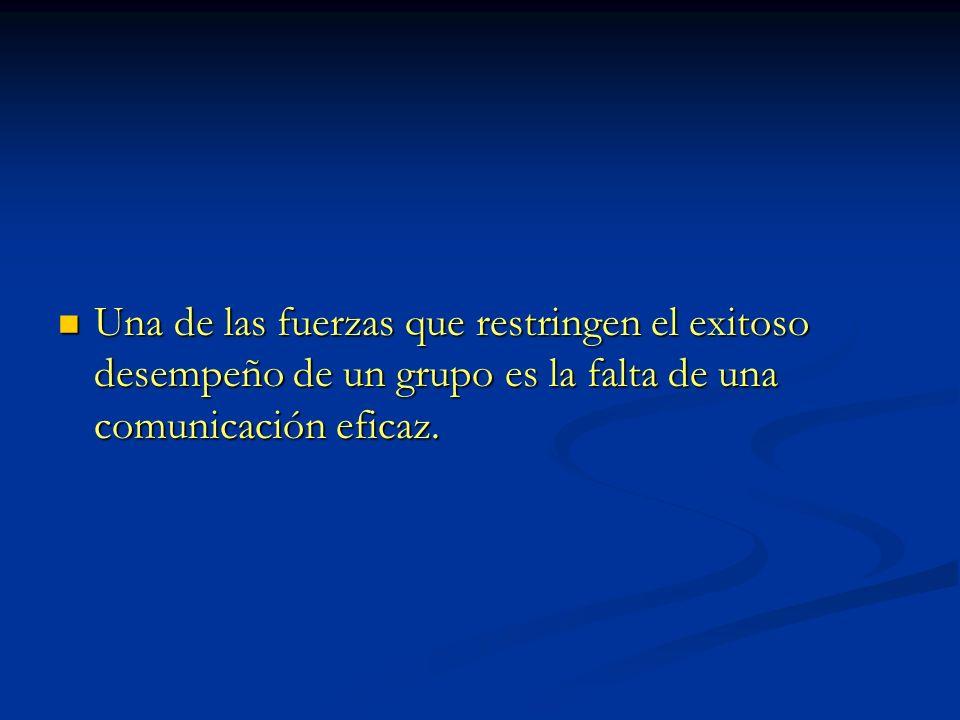 Una de las fuerzas que restringen el exitoso desempeño de un grupo es la falta de una comunicación eficaz.