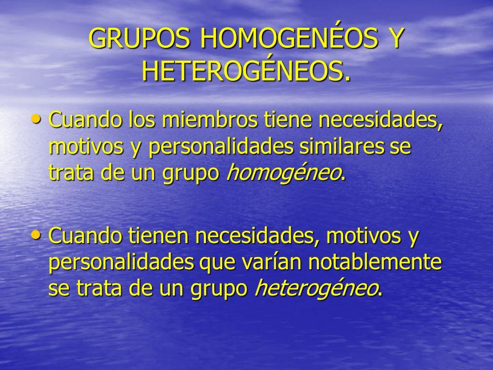 GRUPOS HOMOGENÉOS Y HETEROGÉNEOS.