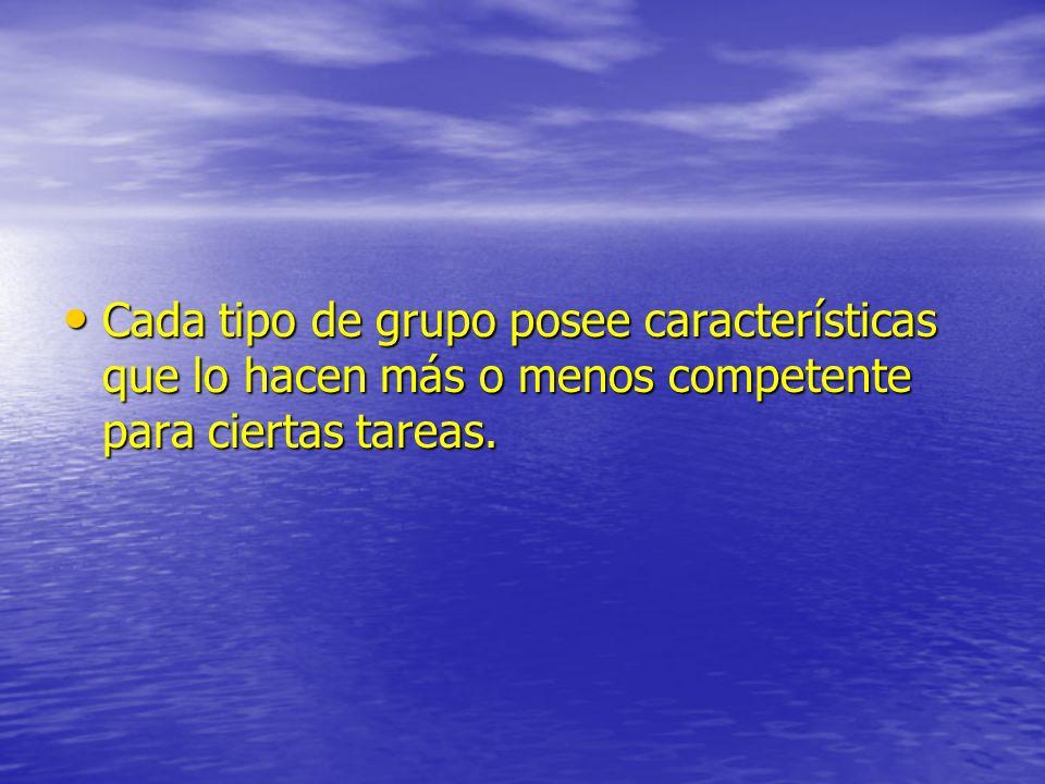 Cada tipo de grupo posee características que lo hacen más o menos competente para ciertas tareas.