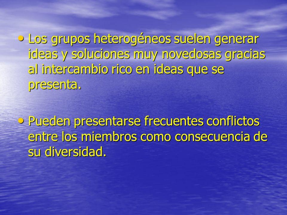 Los grupos heterogéneos suelen generar ideas y soluciones muy novedosas gracias al intercambio rico en ideas que se presenta.