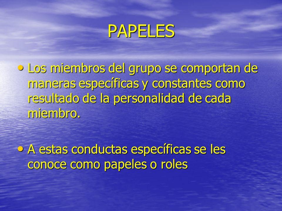 PAPELES Los miembros del grupo se comportan de maneras específicas y constantes como resultado de la personalidad de cada miembro.
