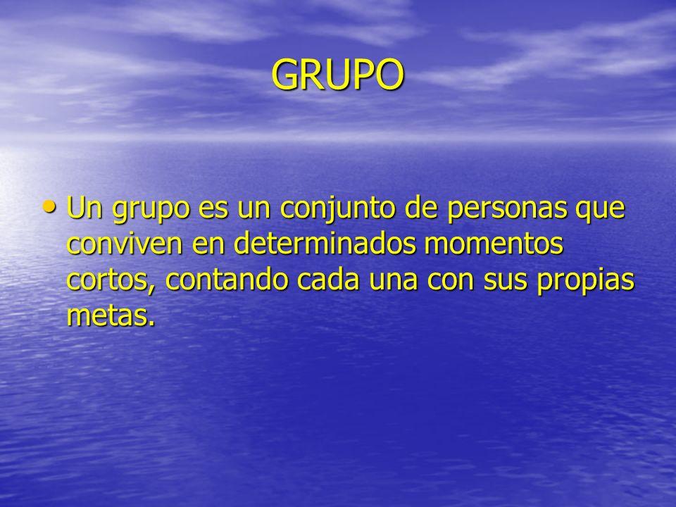 GRUPO Un grupo es un conjunto de personas que conviven en determinados momentos cortos, contando cada una con sus propias metas.