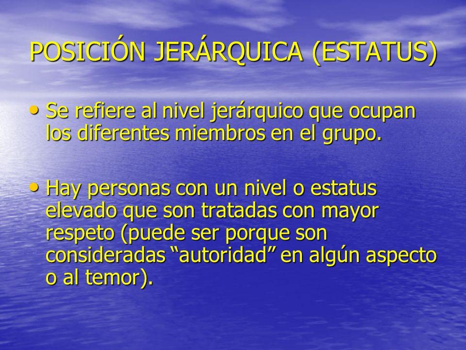 POSICIÓN JERÁRQUICA (ESTATUS)