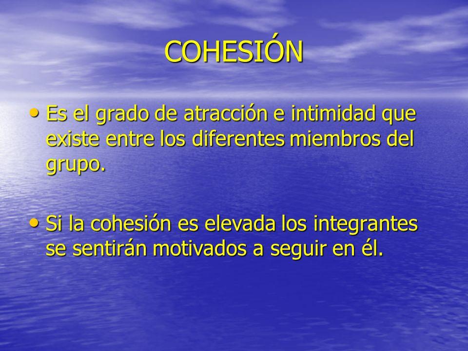 COHESIÓN Es el grado de atracción e intimidad que existe entre los diferentes miembros del grupo.