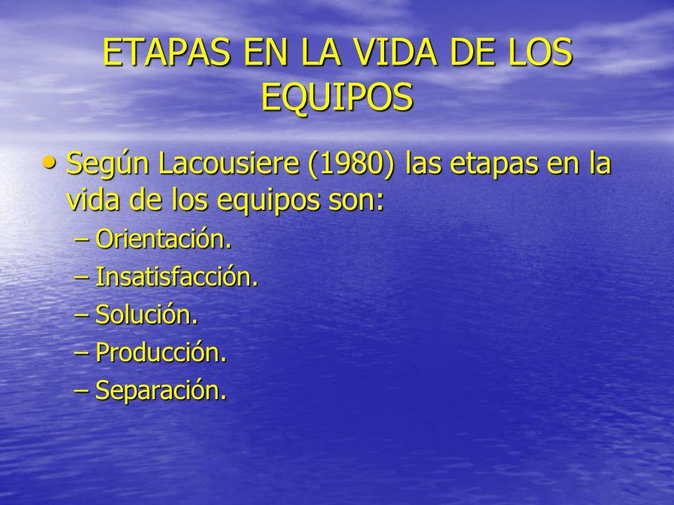 ETAPAS EN LA VIDA DE LOS EQUIPOS