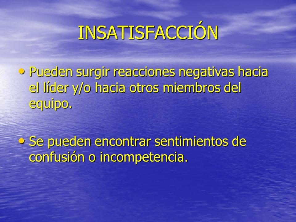 INSATISFACCIÓNPueden surgir reacciones negativas hacia el líder y/o hacia otros miembros del equipo.