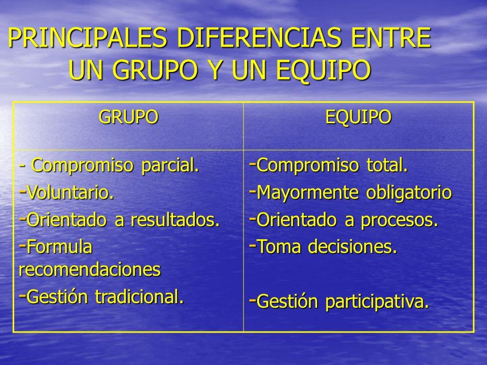 PRINCIPALES DIFERENCIAS ENTRE UN GRUPO Y UN EQUIPO