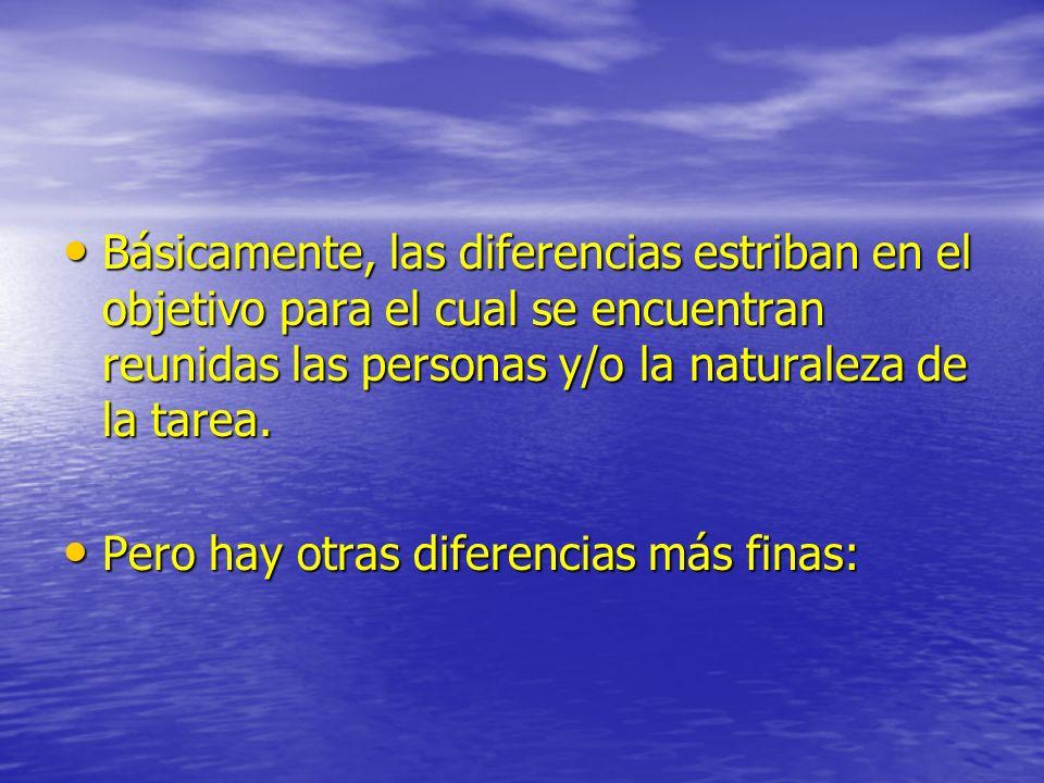 Básicamente, las diferencias estriban en el objetivo para el cual se encuentran reunidas las personas y/o la naturaleza de la tarea.