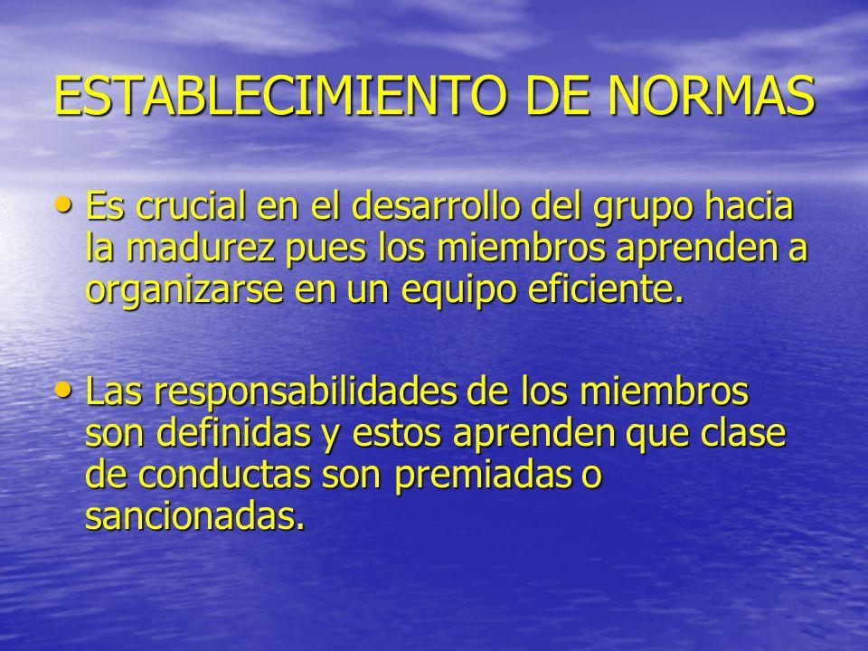 ESTABLECIMIENTO DE NORMAS