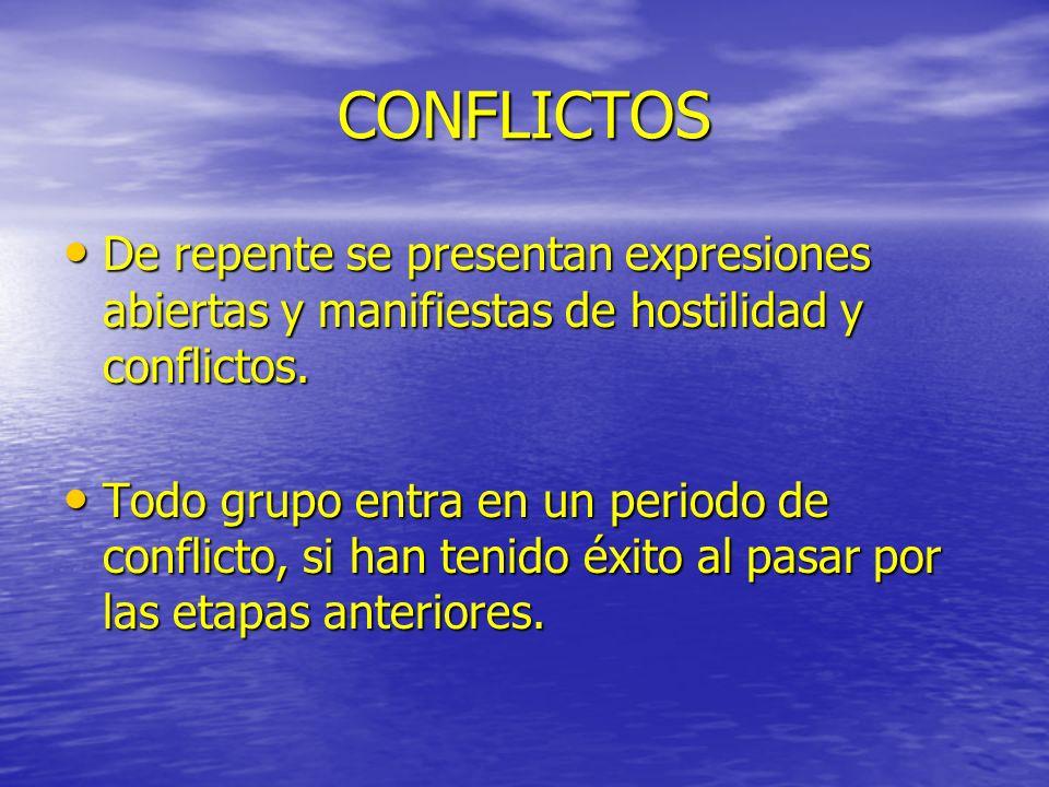 CONFLICTOS De repente se presentan expresiones abiertas y manifiestas de hostilidad y conflictos.
