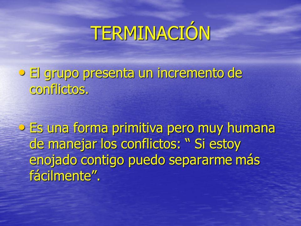 TERMINACIÓN El grupo presenta un incremento de conflictos.