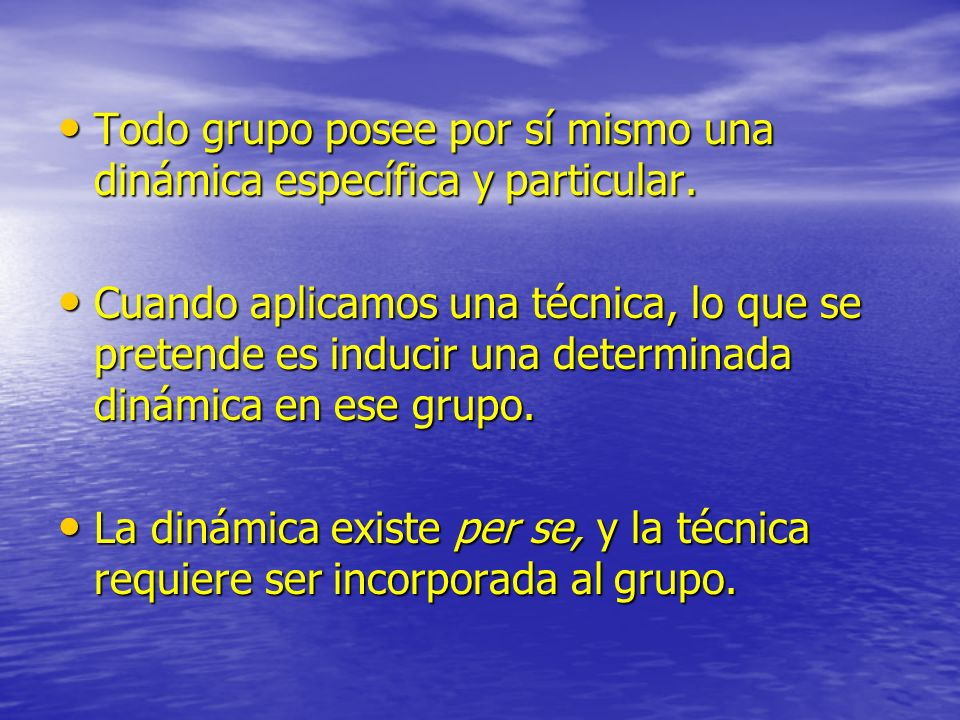 Todo grupo posee por sí mismo una dinámica específica y particular.