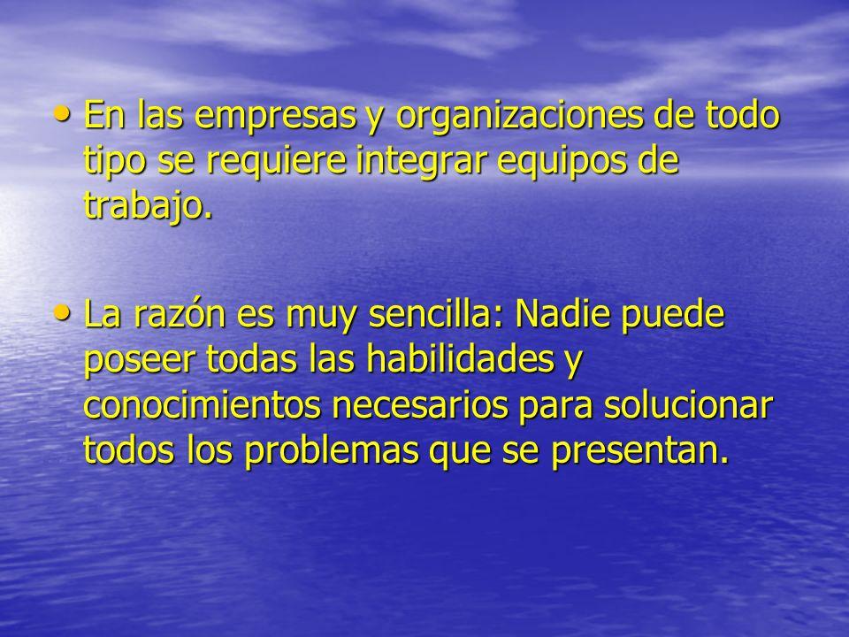 En las empresas y organizaciones de todo tipo se requiere integrar equipos de trabajo.