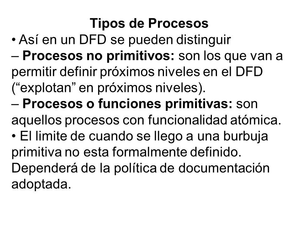 Tipos de Procesos• Así en un DFD se pueden distinguir.