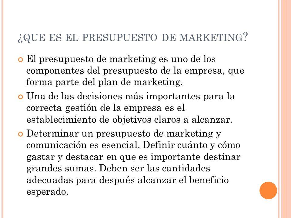 ¿que es el presupuesto de marketing