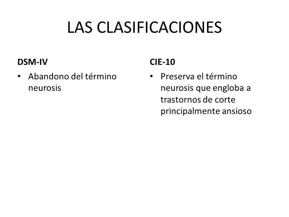 LAS CLASIFICACIONES DSM-IV CIE-10 Abandono del término neurosis