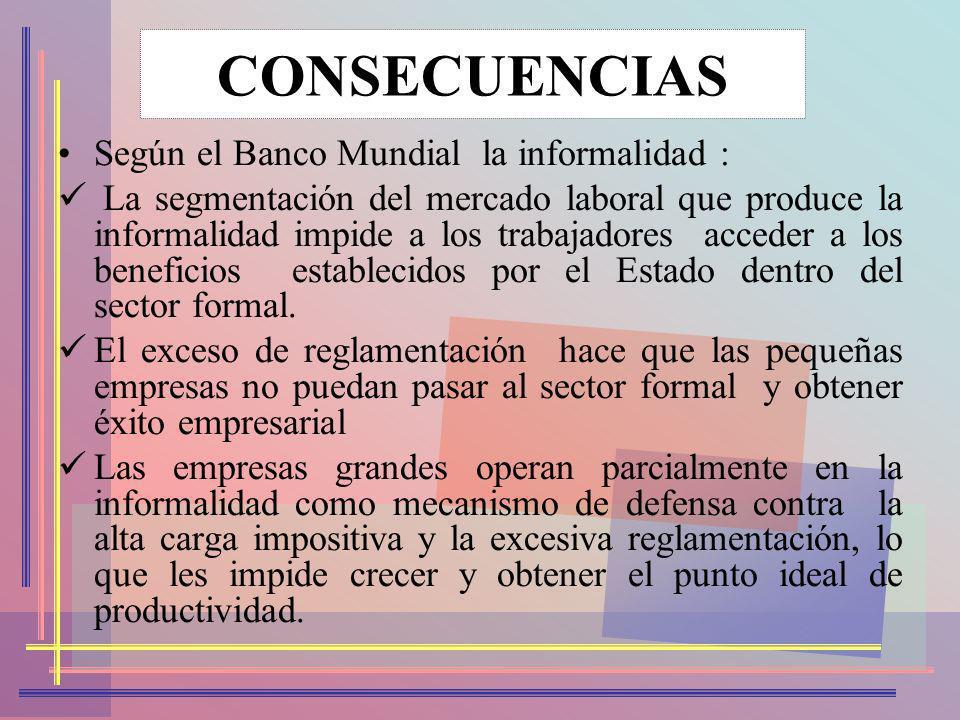 CONSECUENCIAS Según el Banco Mundial la informalidad :