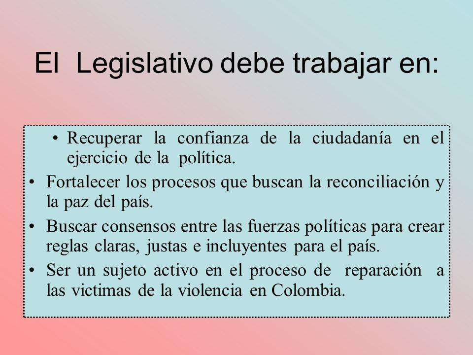 El Legislativo debe trabajar en: