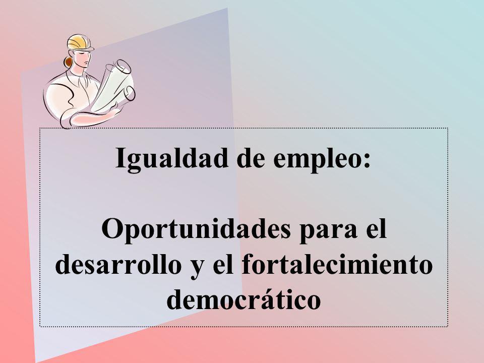 Igualdad de empleo: Oportunidades para el desarrollo y el fortalecimiento democrático