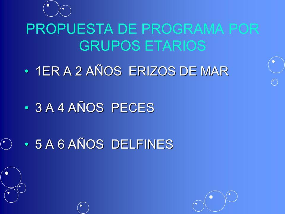 PROPUESTA DE PROGRAMA POR GRUPOS ETARIOS